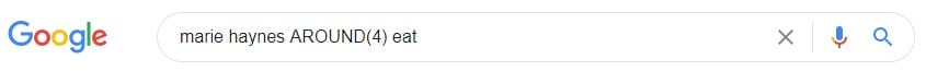 Google search operators: The AROUND(X) advanced search operator typed into the Google search box.