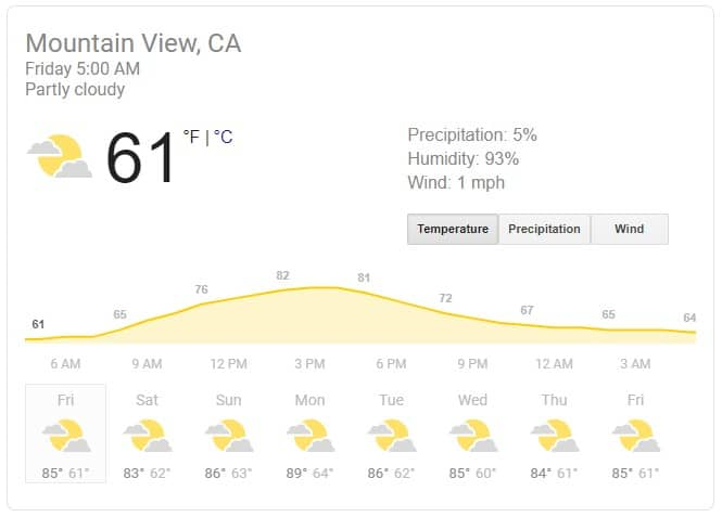 The search results for the query weather: showing the current weather in Mountain View.