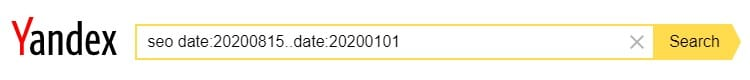 The Yandex advanced search operator date: with the date range specified typed in the search box.