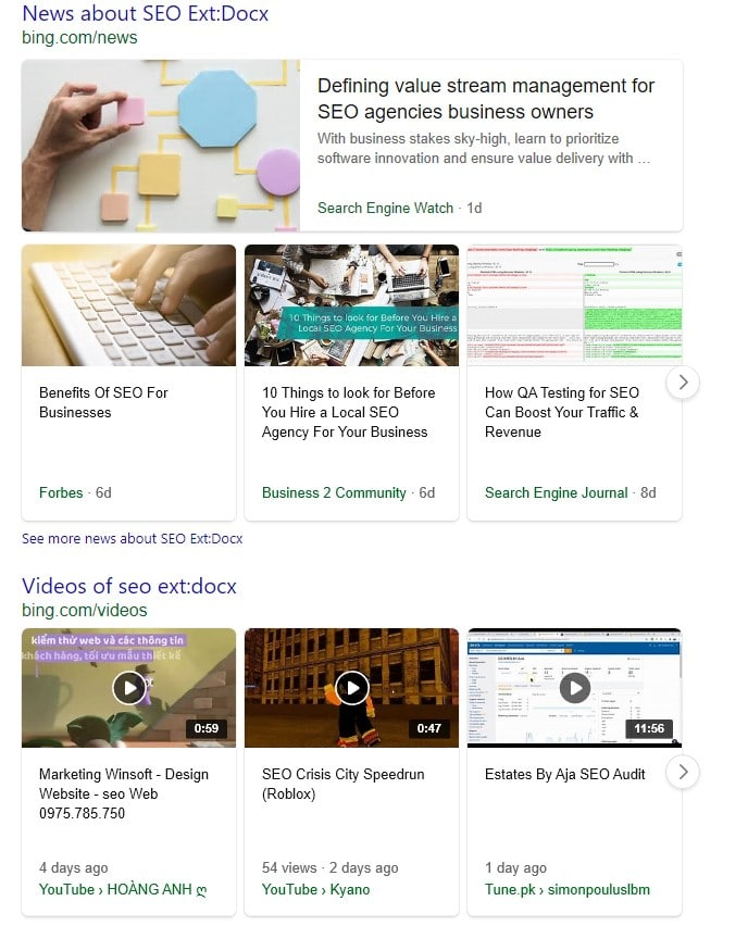 """Irrelevant Bing search results for the query """"seo"""" in combination with the search operator ext:docx."""