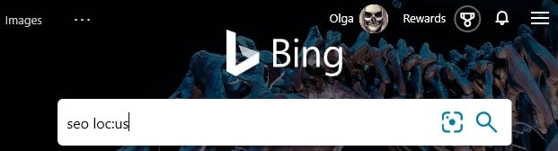The Bing advanced search operator loc: combined with a search keyword typed into the search box in Bing.