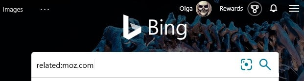 The Bing advanced search operator related: typed into the search box in Bing.