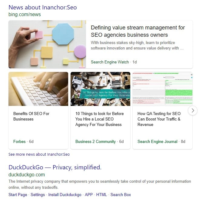Irrelevant Bing results for the search term combined with the inanchor: search command.