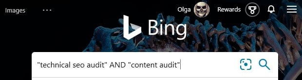 Bing search operators: AND