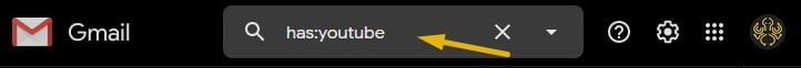 Gmail search operators: A Gmail search operator for finding emails with YouTube videos typed into the Gmail search box