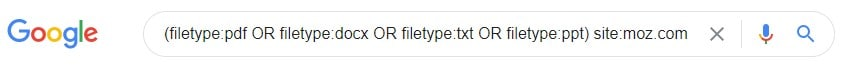 The filetype: command with the Boolean operator OR and the site: command typed into the search bar in Google.