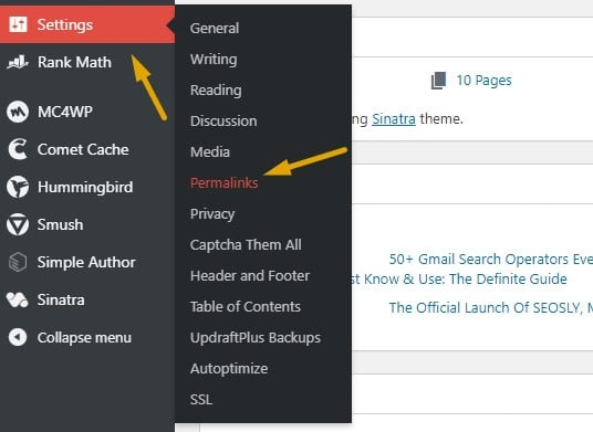 Screenshot showing how to change permalinks setting in WordPress to fix the Rank Math sitemap error.