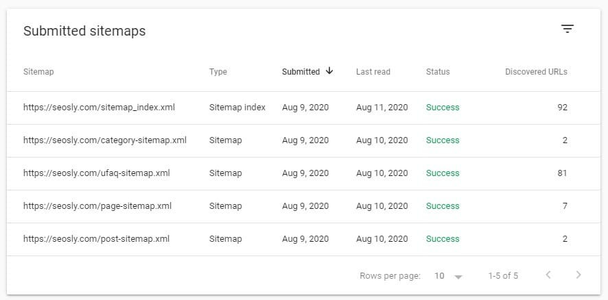 """The list of submitted XML sitemaps in Google Search Console with status """"Success"""""""