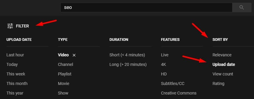 """Manually applying the """"sort by"""" filter in the YouTube search."""