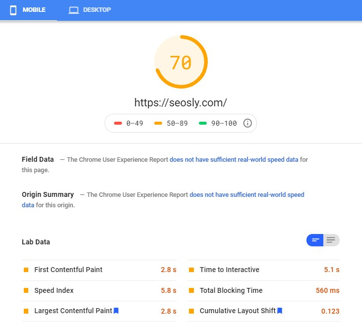 Google PageSpeed Insights results for Autoptimize