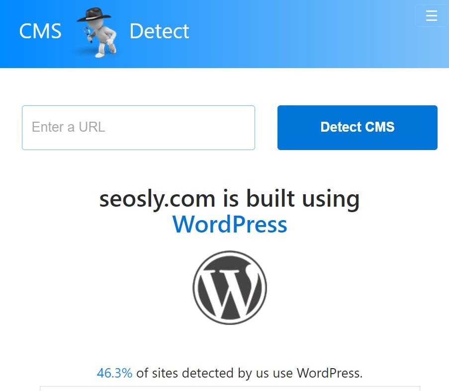 Checking the CMS with the CMS detect tool