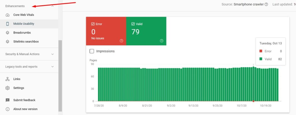 Enhancements and mobile usability in Google Search Console