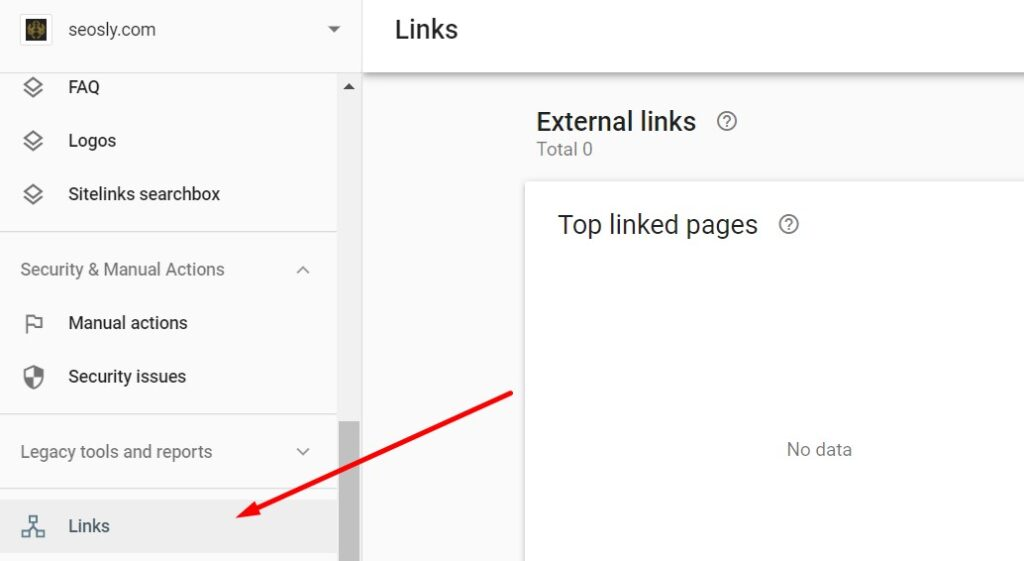 Links in Google Search Console