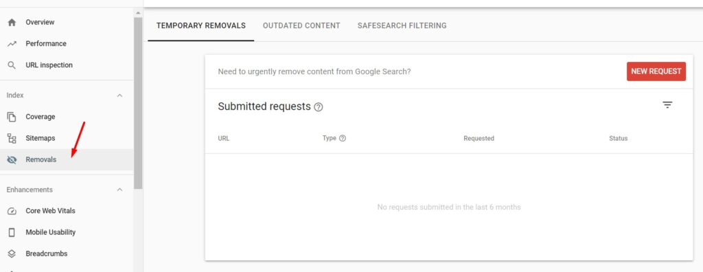 Removals in Google Search Console
