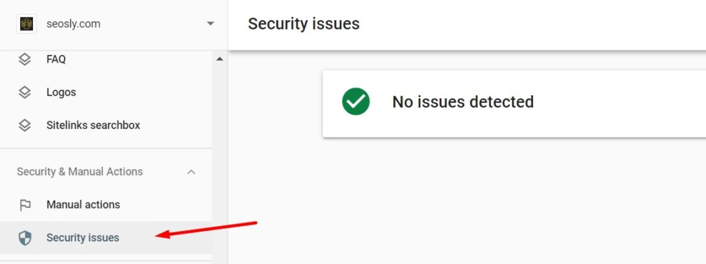 Checking if there are security issues in Google Search Console.