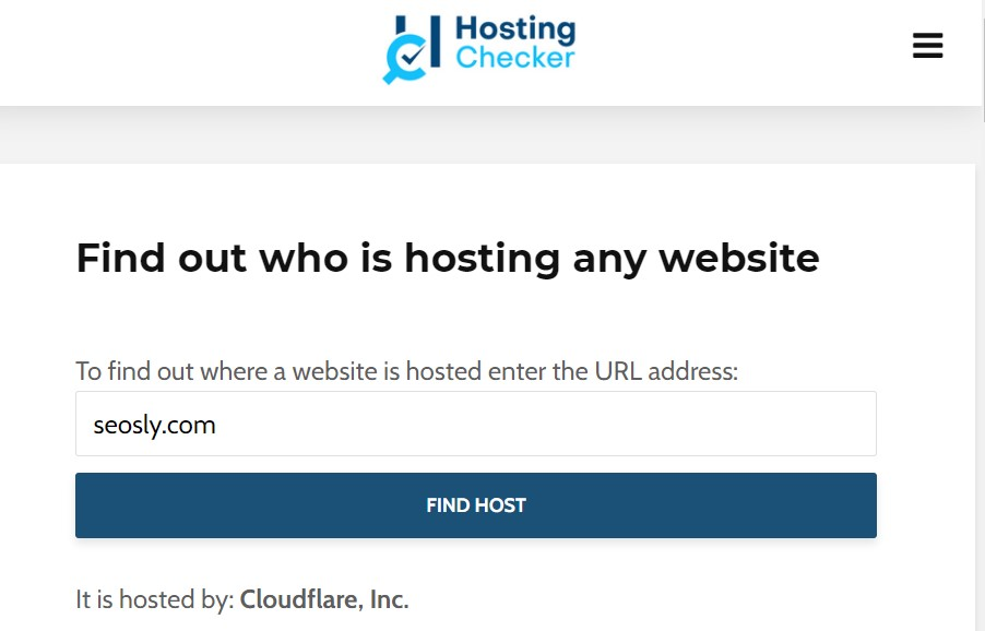 Checking the hosting provider with the Hosting Checker tool