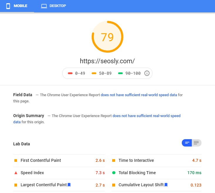 Google PageSpeed Insights results for Hummingbird