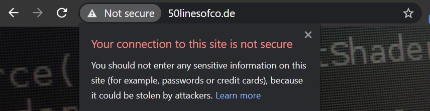 A website without an SSL certificate