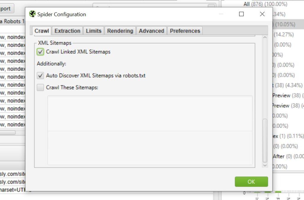 Crawling XML sitemaps using Screaming Frog.