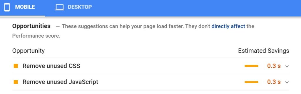 Google PageSpeed Insights opportunities