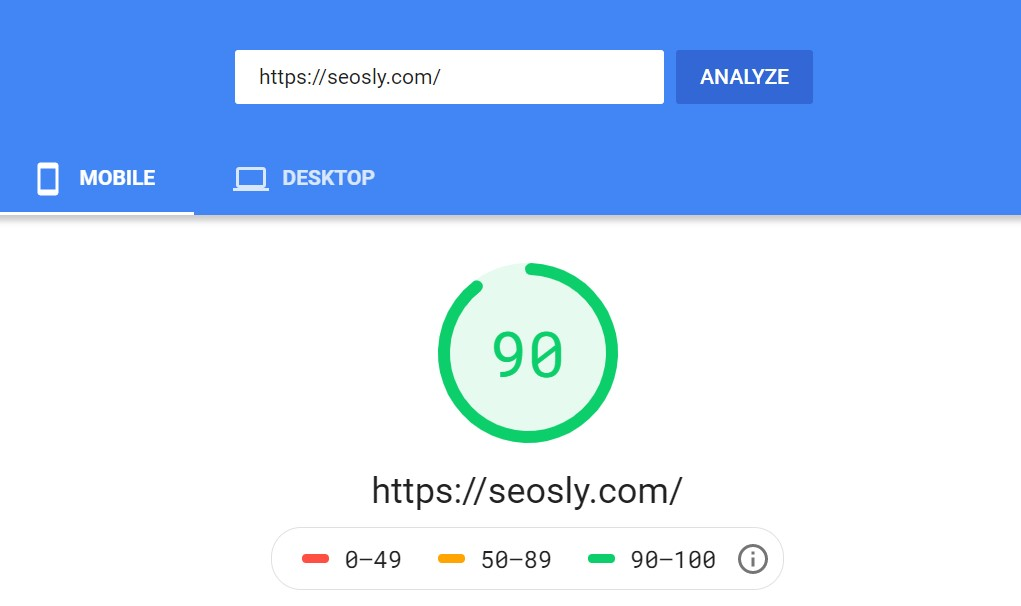 Google PageSpeed Insights results for seosly.com