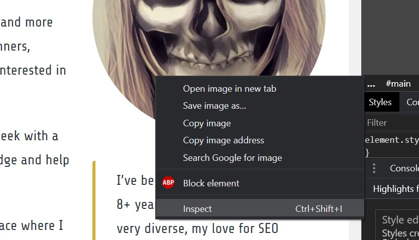 Inspecting an image in Chrome