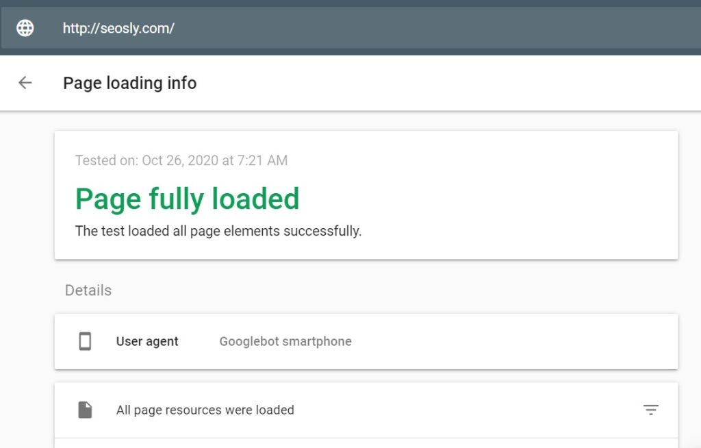 Checking page loading issues in Mobile-Friendly Test