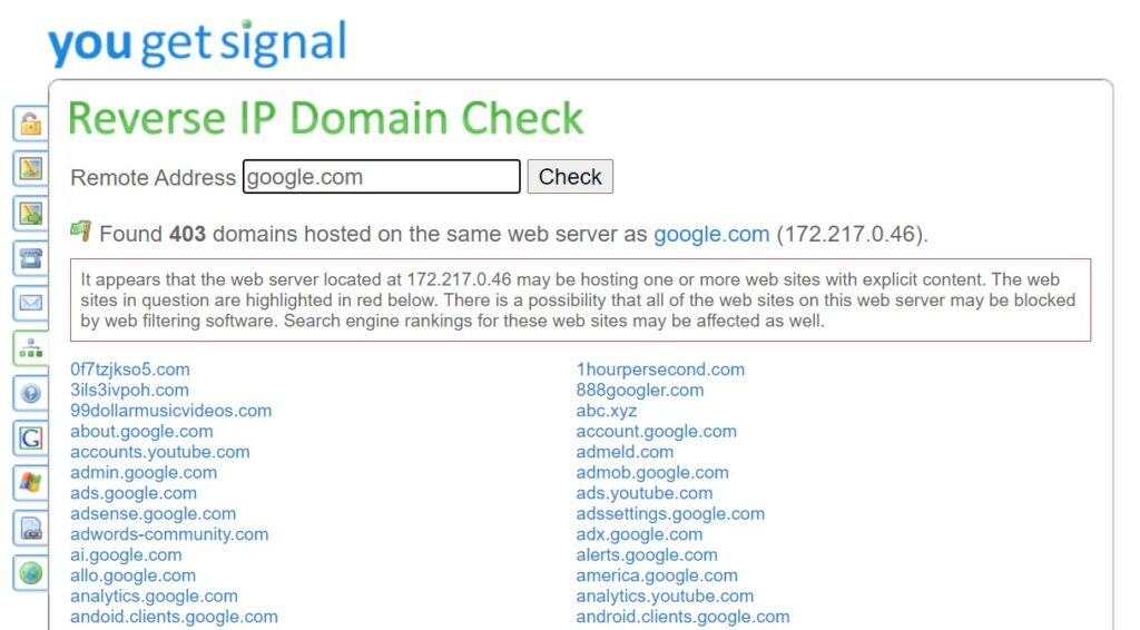 Checking what websites are hosted on the same IP address.