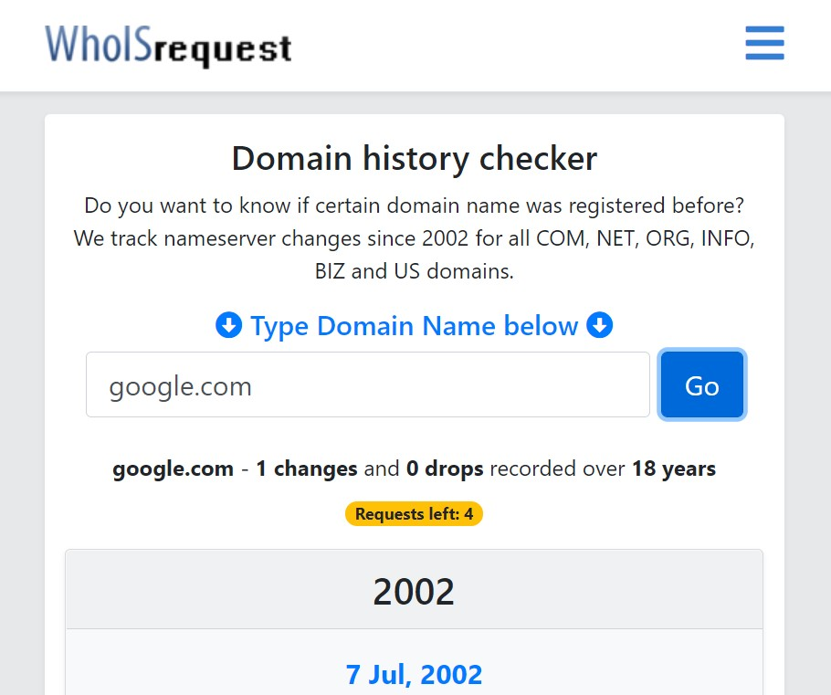 Checking the domain history with the help of WhoISrequest