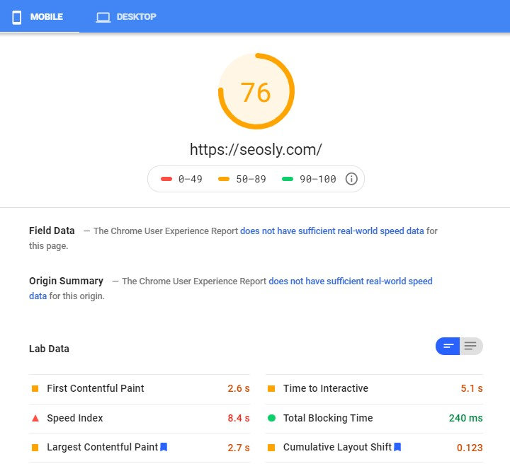 Google PageSpeed Insights results for W3 Total Cache