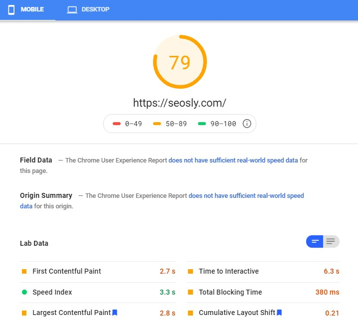 Google PageSpeed Insights results for WP Fastest Cache