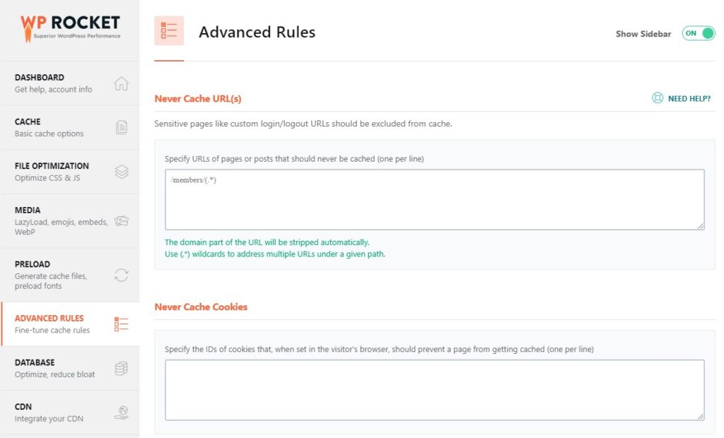 WP Rocket review: advanced rules