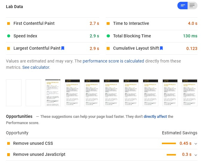 Google PageSpeed Insights lab data with WP Rocket