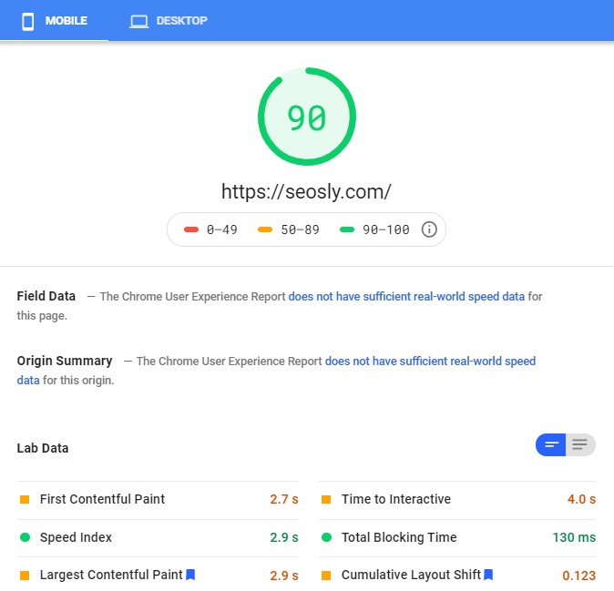 WP Rocket results in Google PageSpeed Insights