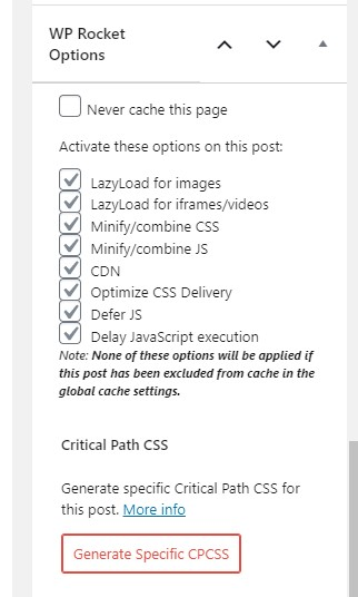Cache settings for individual pages in WP Rocket