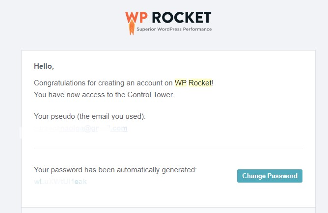 WP Rocket welcome e-mail after buying the plugin