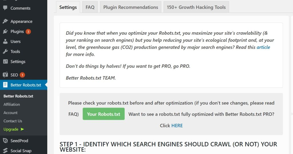 Better Robots.txt WordPress Plugin settings