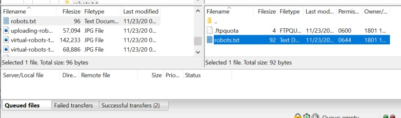 Modify robots.txt via FTP