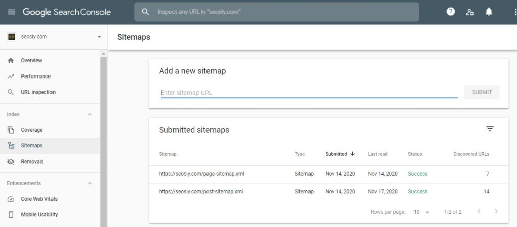 Checking a sitemap in Google Search Console