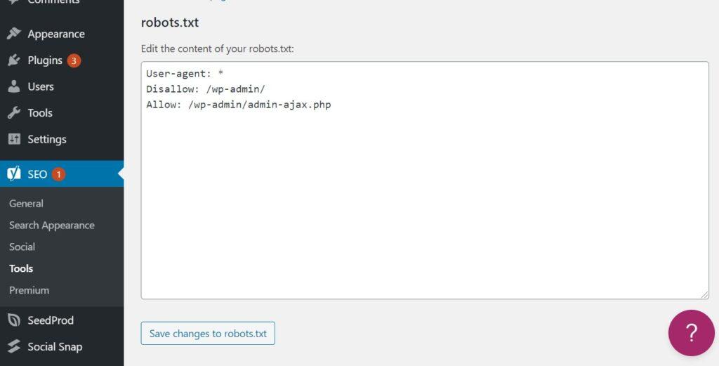 Modifying robots.txt in Yoast SEO in WordPress