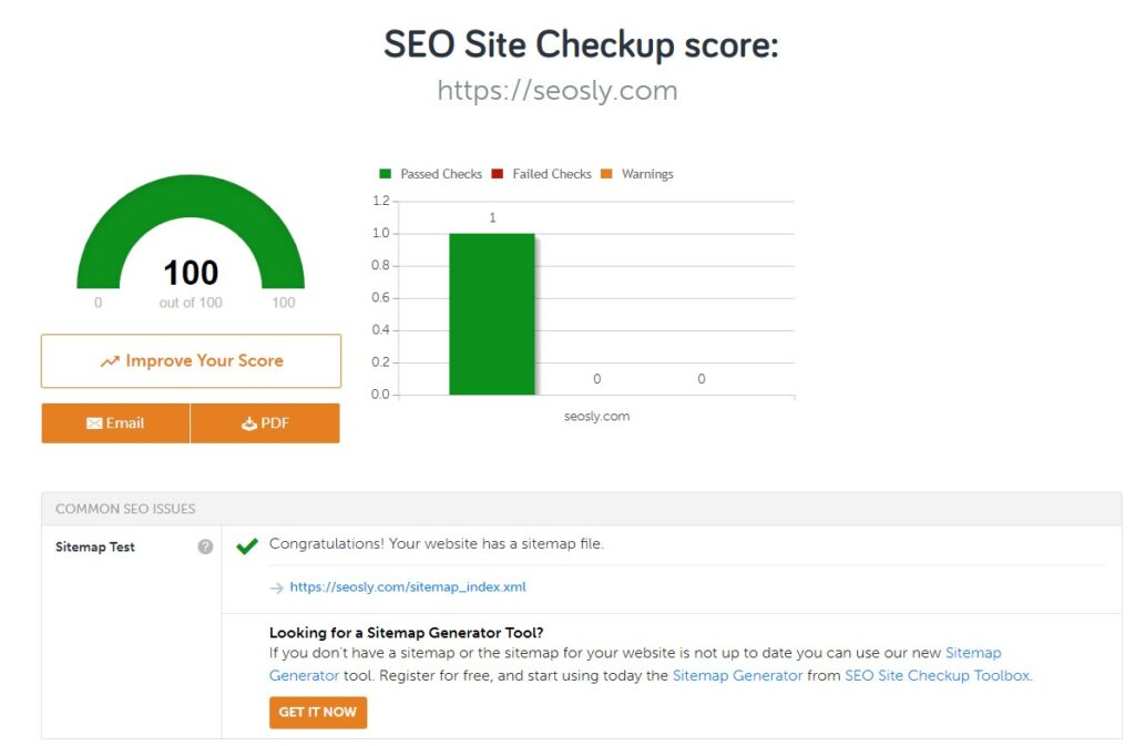 SEO Site Checkup finding a sitemap