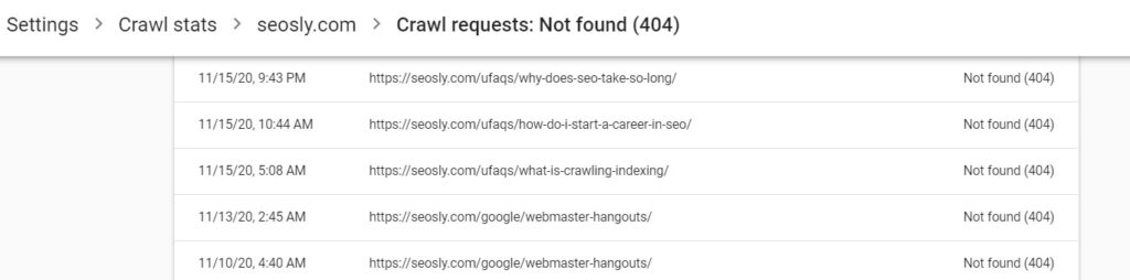 Crawl responses 404 (not found)