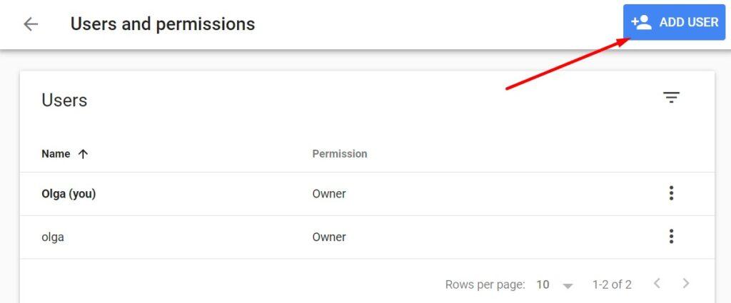 Adding a new user in Google Search Console
