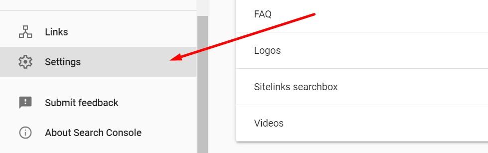 Google Search Console settings
