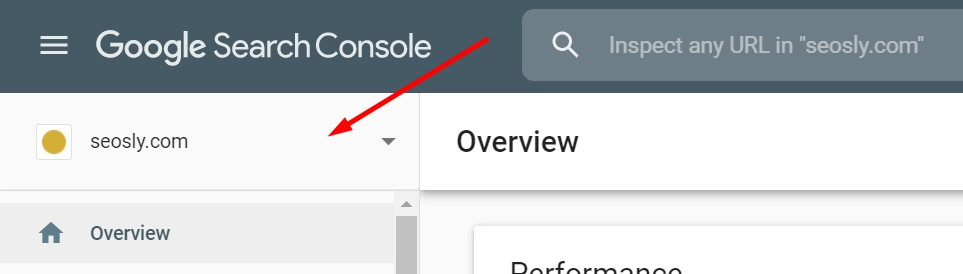 Choosing the property in Google Search Console to add a new user