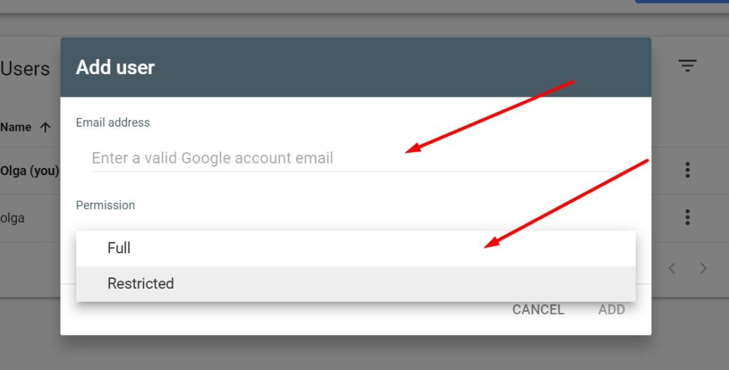 How to add a new user in Google Search Console: choosing the type of permission