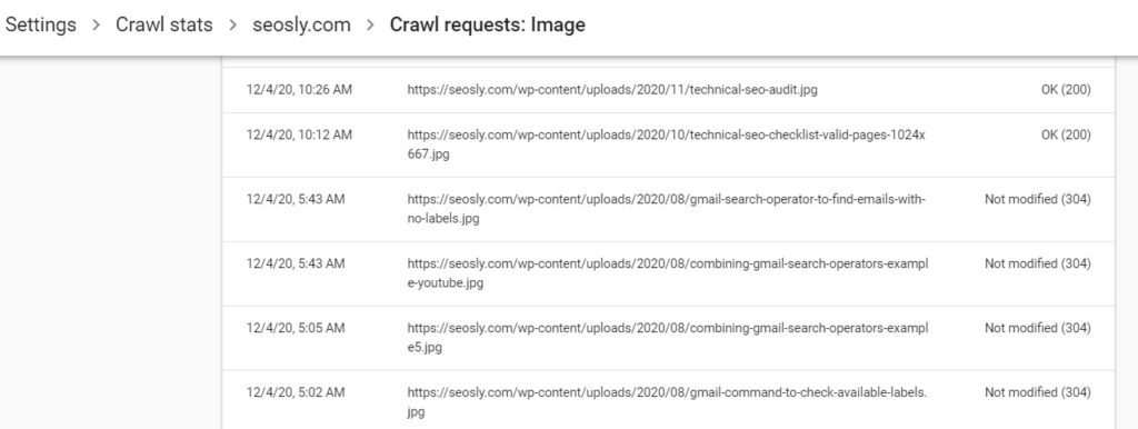 Crawl requests for images