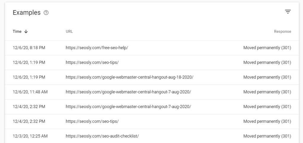 Examples of the requests for redirected URLs in Google Search Console