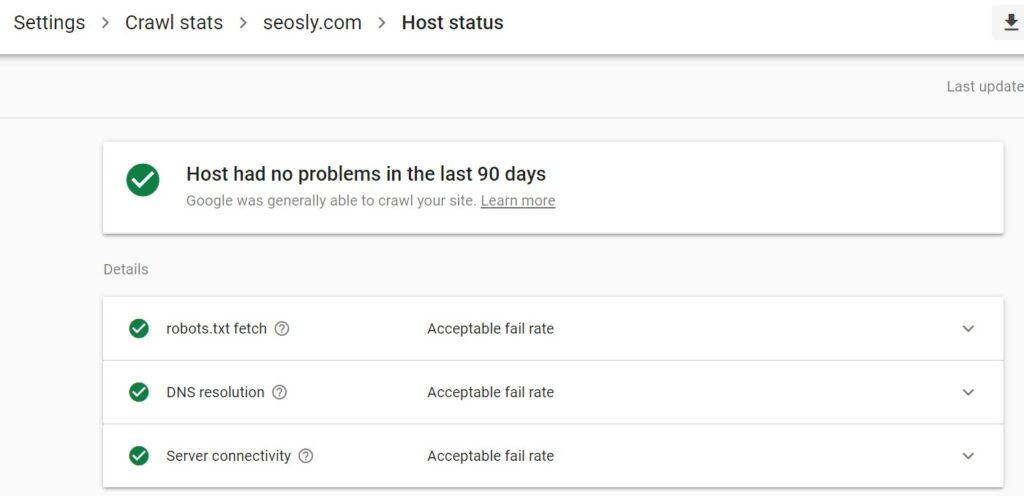 Host status details in crawl stats report in Google Search Console