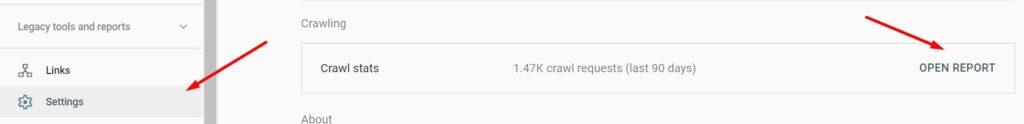 Crawl stats report in Google Search Console